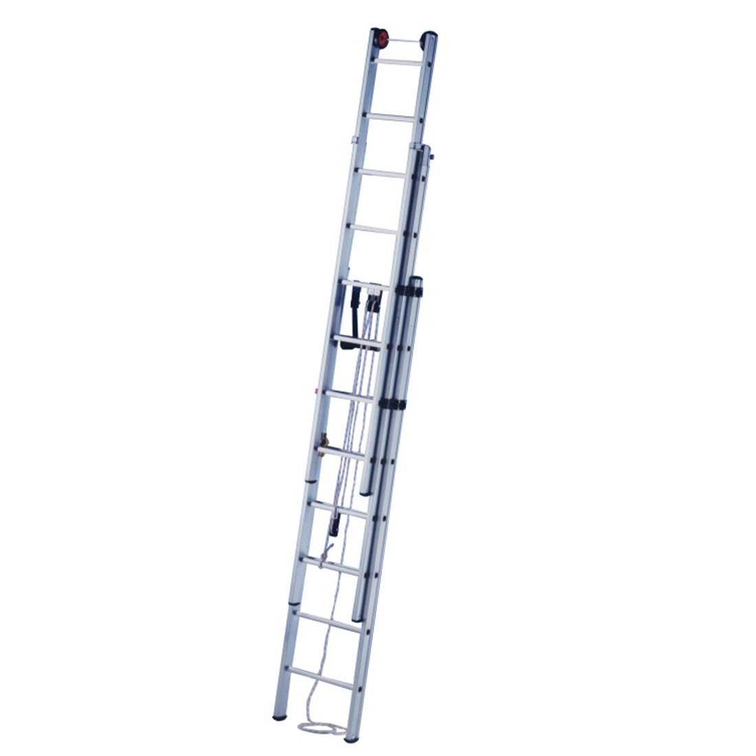 Alquiler de escalera extensible 3 tramos 12 50m maquinas for Escaleras extensibles
